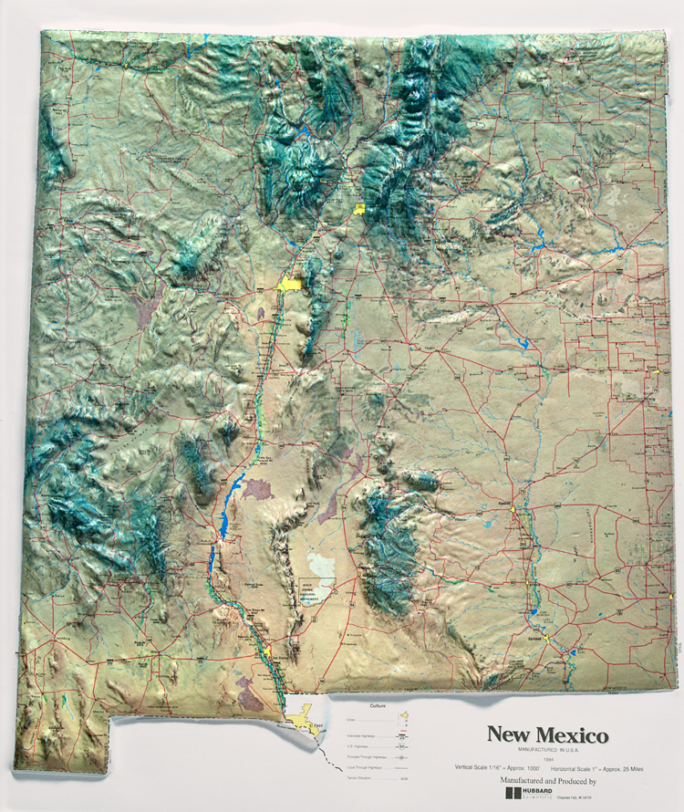 Statehood - Topographical map of new mexico